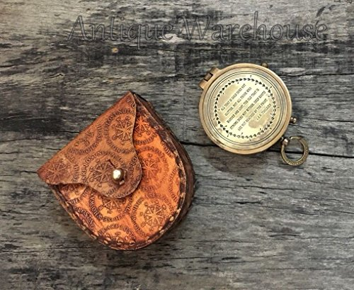 Nautical Antique Solid Brass Working Compass Leather Case Marine Pocket Compass Collectible Used Camping Hiking Navigation Desk Decor Gifts by Antique House