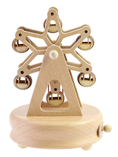 Christmas Ferris Wheel Music Box.Cute Quality Made Wooden Musical Box Featuring Ferris Wheel With Small Swinging Cabins Plays The Castle In The Sky Song