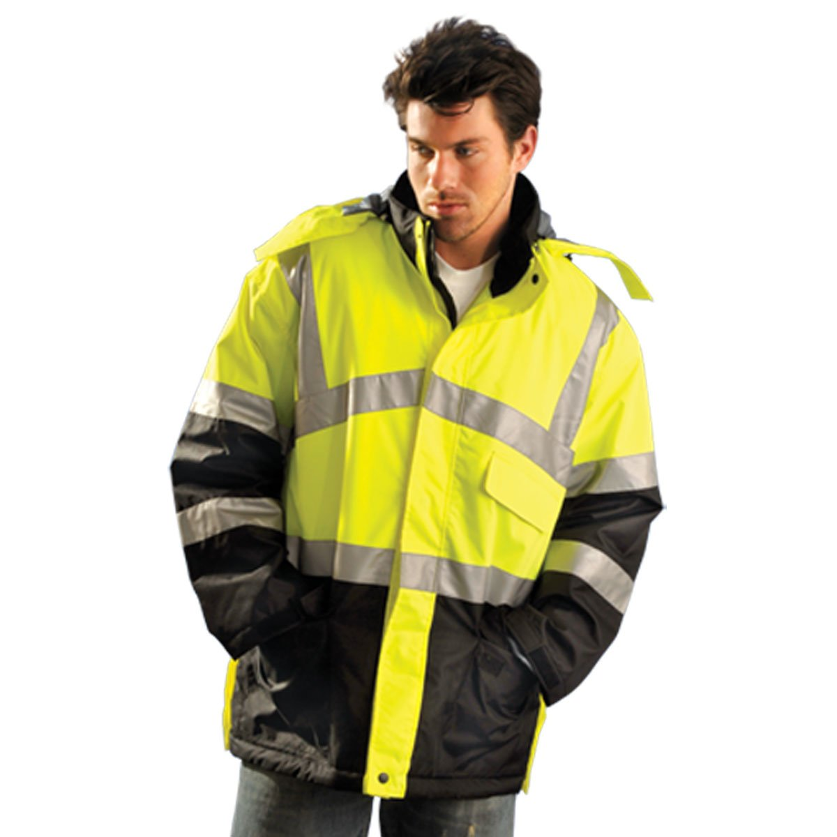 Jacket, Insulated, L, Yellow, 35inL