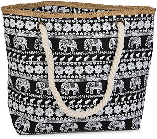 02012063 styleBREAKER ethno Dark bag sling Color ladies beach shopper Black print zipper bag elephant Blue with PUSrqPw