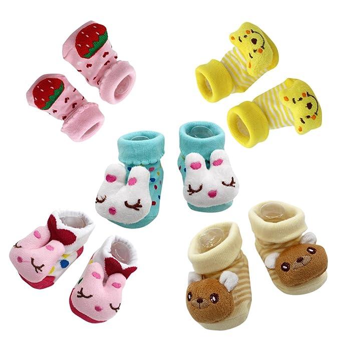 Zolimx 5 Pares Zapatillas Bebe, ❤ Bebé Recién Nacido Dibujos Animados Antideslizante Calcetines Zapatillas Zapatos Botas Para Niñas: Amazon.es: Ropa y ...