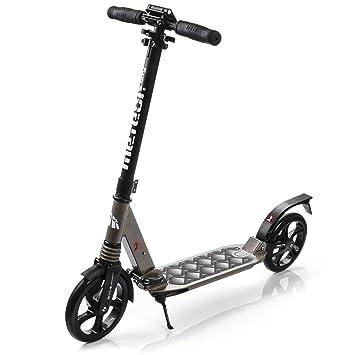 meteor® Scooter plegable ruedas grandes 200 mm patinete Niños y Adultos Muy Duradera - hasta 100 kg Patinete de aluminio de alta calidad dos ...