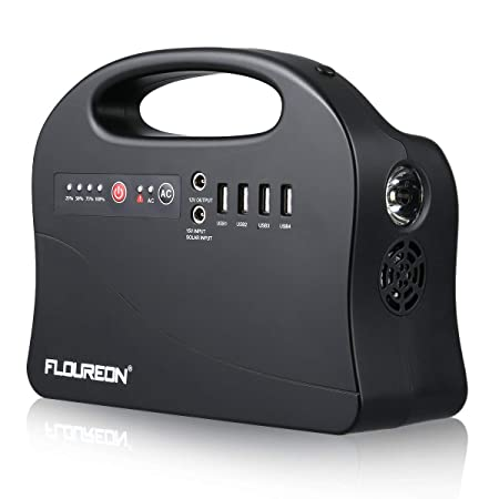 floureon Portable Power Station, 146Wh Solar Generators Lithium Power Supply for Outdoors Camping Travel Fishing Hunting, Emergency Power Generator with 120V 200W AC Outlet, 4 USB Ports, Solar Input.