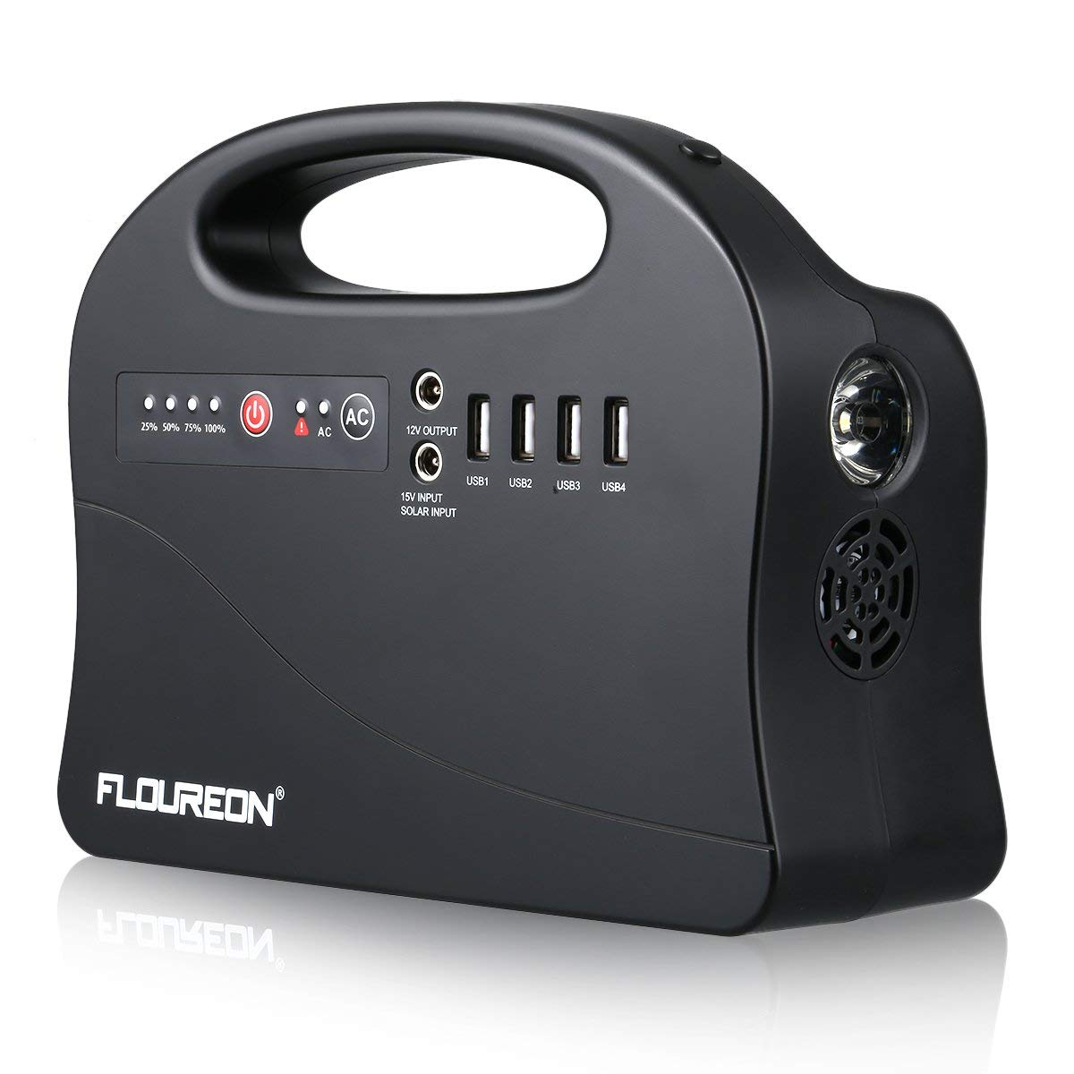 floureon Portable Power Station 200W, 146wh/42000mAh Solar Generator Backup Power Supply with 110V AC Outlet, 2 DC Output, 4 USB Output, LED Flashlight, Charged by Solar Panel/Wall Outlet/Car Charger