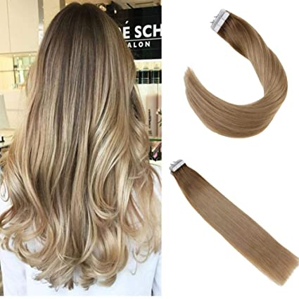 "Ugeat 16"" Tape in Hair Extension Tape # 8t18 Marrón Ombre Ash Blonde Extensiones del"