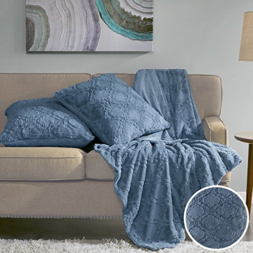 Comfort Spaces Faux Fur Throw Blanket Set – Ogee Fluffy Plush Blankets for Couch and Bed – Sapphire Blue Size 50