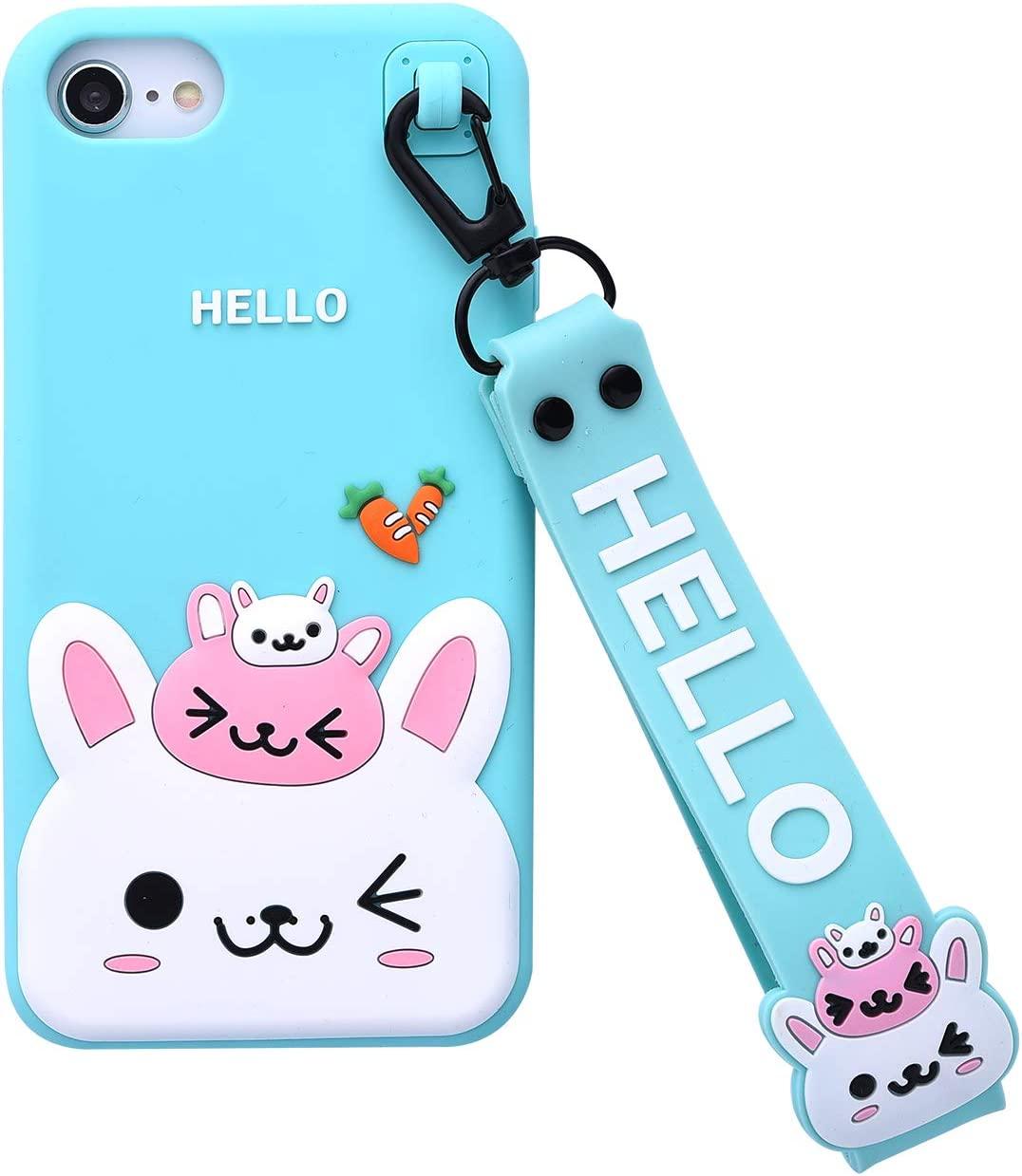 Bunny Case for iPhone SE 2020 Case,iFunny Cute 3D Cartoon Kawaii Radish Rabbit Shockproof Soft Silicone Rubber Case with Wrist Strap for iPhone SE 2020/6 6S 7 8(4.7inch) (Radish Rabbit Green)