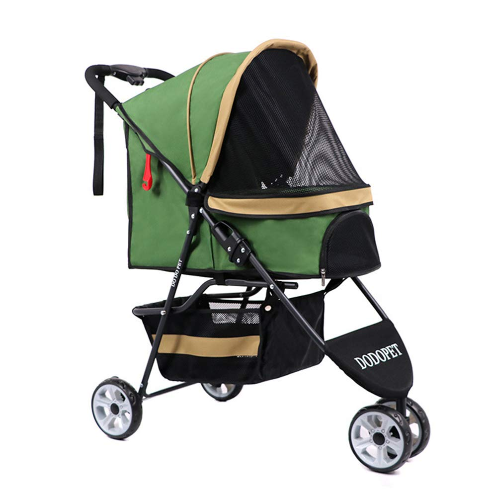 Admier Pet Stroller 3 Wheels One-Click Folding Cat Dog Cage Storage Basket Easy Walk Panoramic View Window Strong Stable Travel Carrier Green