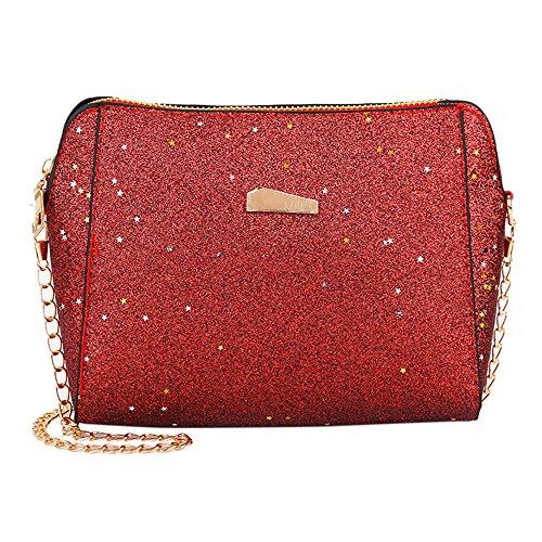 (Clearance Sale! ZOMUSAR Women Fashion PU Leather Zipper Small Deer Splice Handbag Shoulder Shell Bag Shiny Crossbody Tote Bag (Red ))