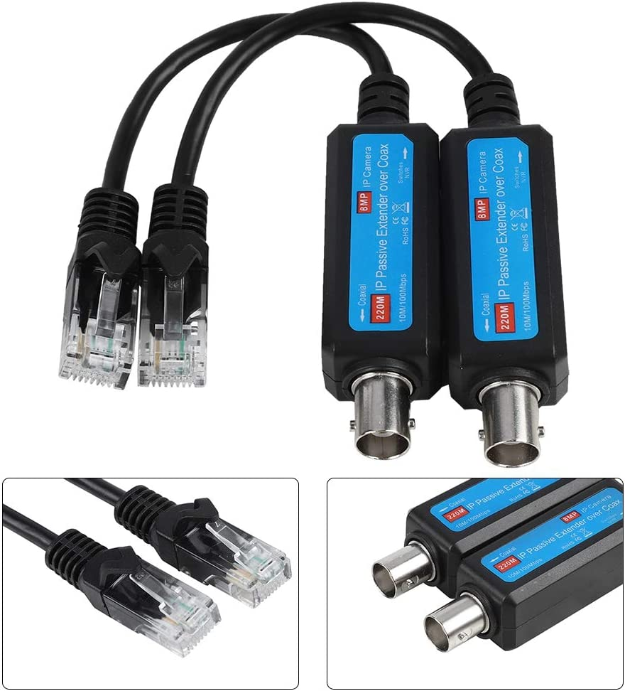 10//100Mbps 1CH Passive IP Network Coaxial Transmitter Receiver for IP NVR Camera Network Extender 1Pair