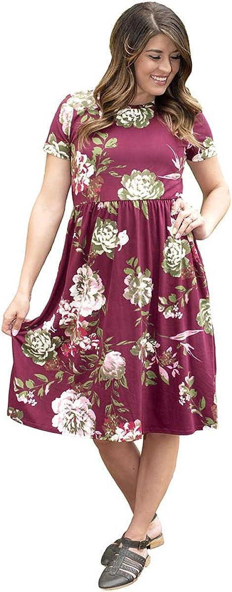 Kleider L BohoDrift Modest Floral Fit Flare Reborn J Midi ...