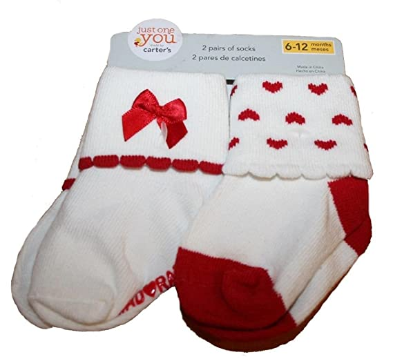 Just One You Carters Baby Girls Socks # Adorable 2 Pack Size 0-6M or