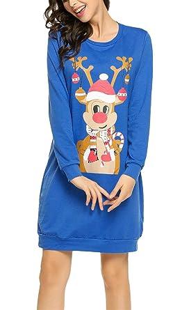 b701ad7f90 Lounayy Loose Pulli Ladies with Print Round Neck Sweatshirt Sweatshirts  Pullover Jumper Oversized Long Sleeve Tops