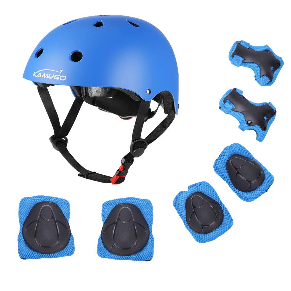 Kids Helmet, Toddler Helmet for Kids 3-5/5-8 Years, Adjustable Bike Skateboard Scooter Helmet with Protective Gear Set Knee Elbow Pads Wrist Guards for Boys Girls Cycling Skating Safety Guard (Blue) by KAMUGO