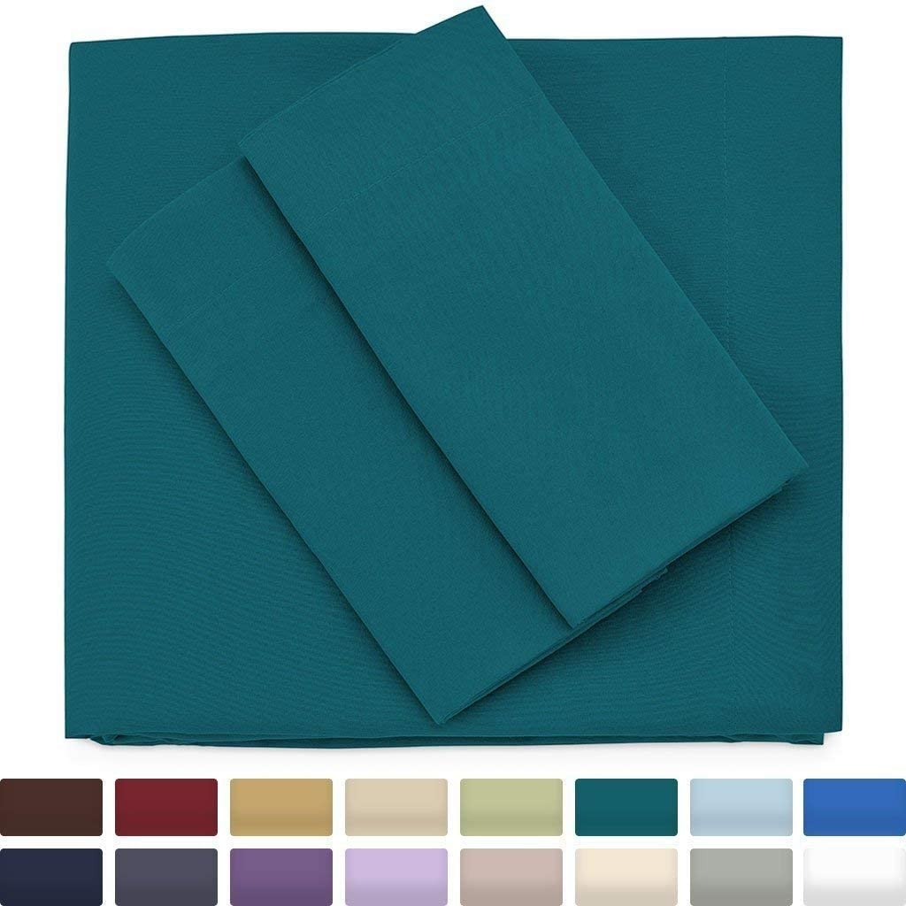 Cosy House Collection Premium Bamboo Sheets - Deep Pocket Bed Sheet Set - Ultra Soft & Cool Breathable Bedding - Hypoallergenic Blend from Natural Bamboo Fiber - 4 Piece - Queen, Dark Teal
