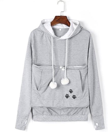 VincentDeep Unisex Cat Ear Big Kangaroo Pouch Hoodie Long Sleeve Pet Cat Dog Holder Carrier Sweatshirt (Grey, XL)