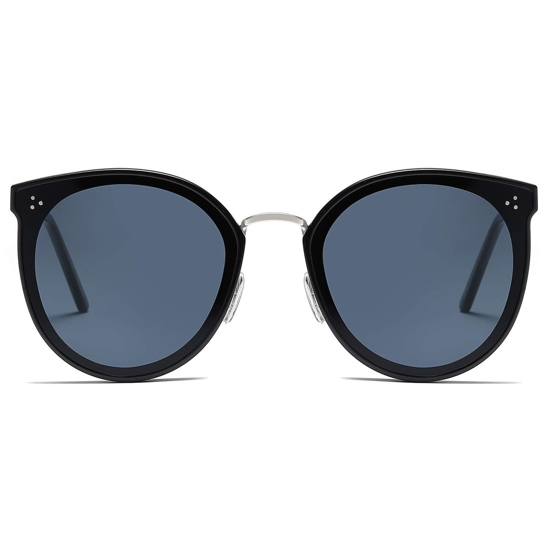 SOJOS Round Oversized Polarized Sunglasses for Women Nylon Lens SJ2082 with Black Frame/Grey Lens by SOJOS