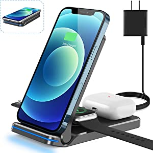 Wireless Charger, Foldable 3 in 1 Qi-Certified 15W Fast Charging Station for Apple iWatch SE/6/5/4/3/2,AirPods Pro/2,Charging Stand for iPhone12/12 Mini/12 Pro/12Pro Max /11/X/XS/XR/Xs Max/8/8 Plus
