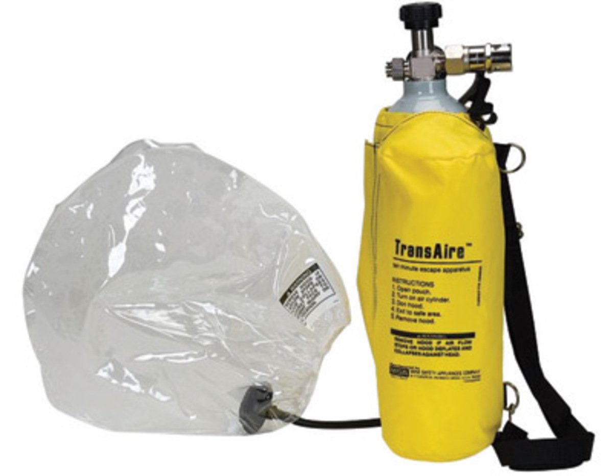 MSA TransAire 10 Escape Respirator With Aluminum Cylinder, Carrier, Hood Tube And Hood Assembly