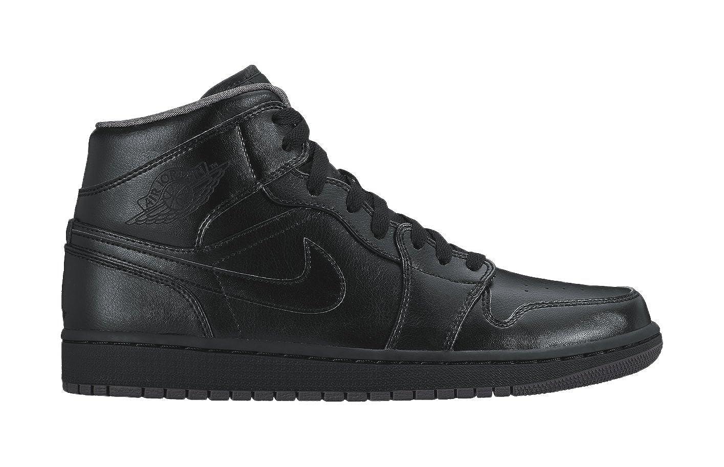 brand new 5858f 12692 Amazon.com   Nike Men s Air Jordan 1 Mid Black Black Dark Grey Basketball  Shoe - 10 D(M) US   Basketball