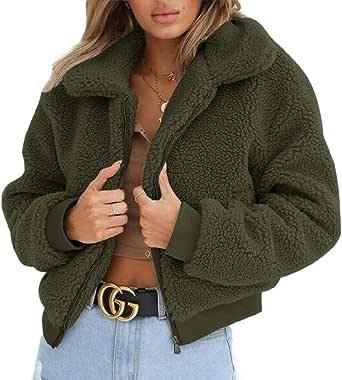 Women Coat Casual Lapel Fleece Fuzzy Faux Shearling Zipper Warm Winter Outwear Jackets