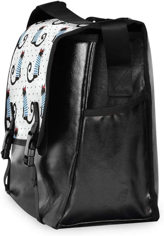 Striped Long Tail Cat Cartoon Cute Large Flapover Messenger Bag Unisex Casual Canvas Crossbody Bags Laptop Briefcase Single Shoulder Bag Student College Satchel