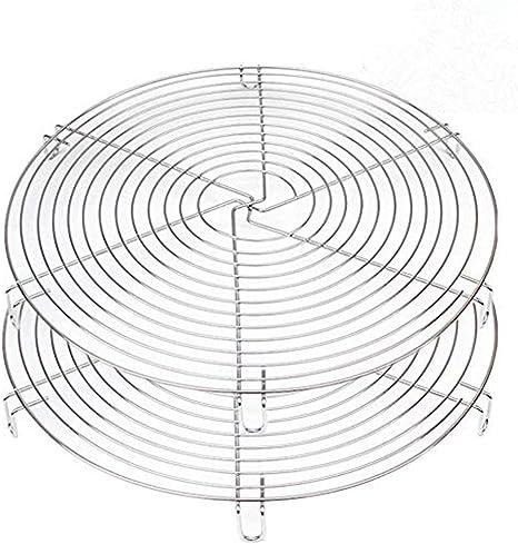 Stainless Steel-2 Pack 12 Inch Diameter Mokpi Round Cake Cooling Racks Wire Baking Steaming Rack Steamer Rack