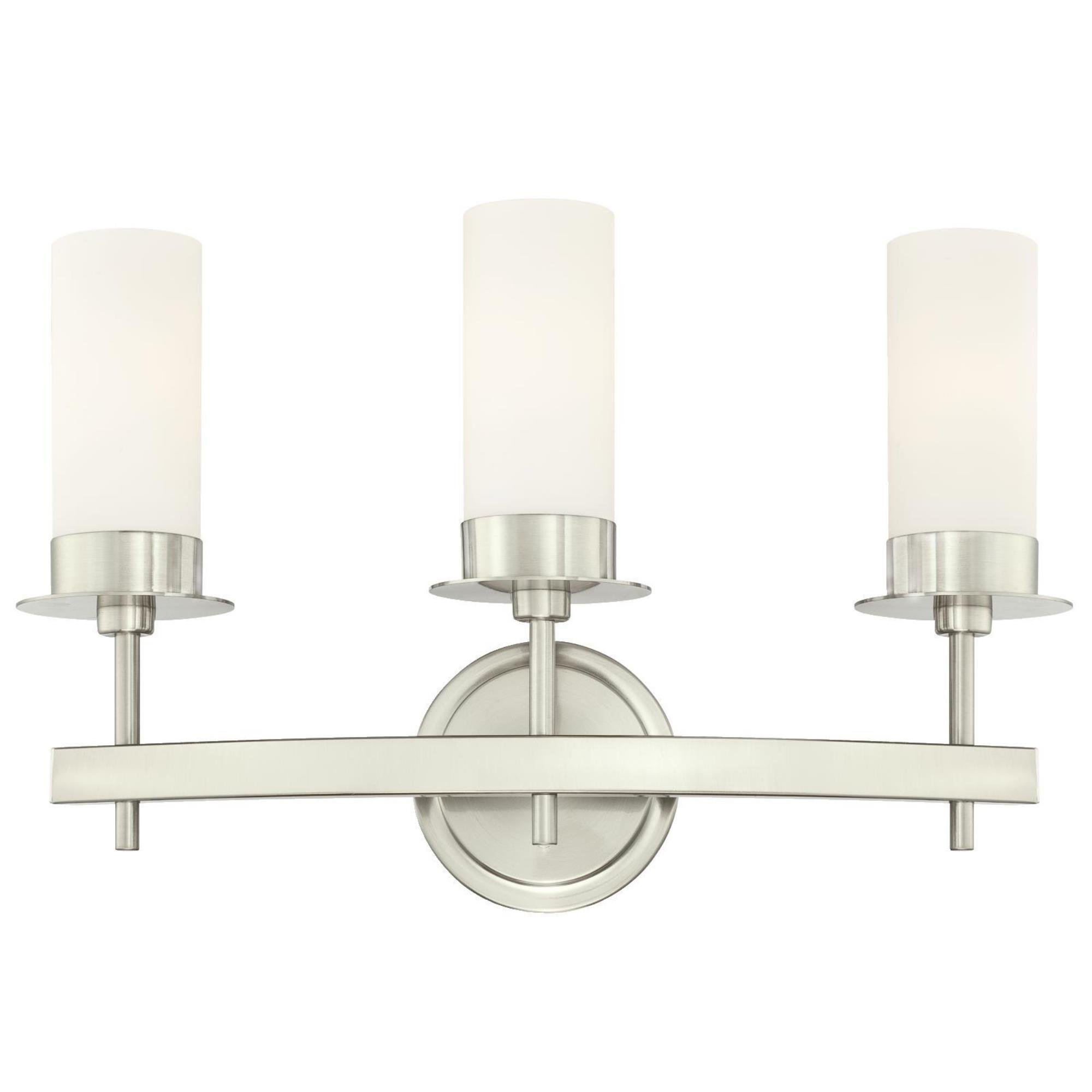 Westinghouse 6327100 Roswell Indoor Wall Fixture, Brushed Nickel Finish with Frosted Opal Glass, Three Light by Westinghouse
