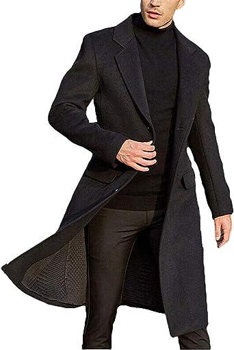 Men/'s British Jacket Outwear Casual Wool Trench Winter Overcoat Warm Long Coat
