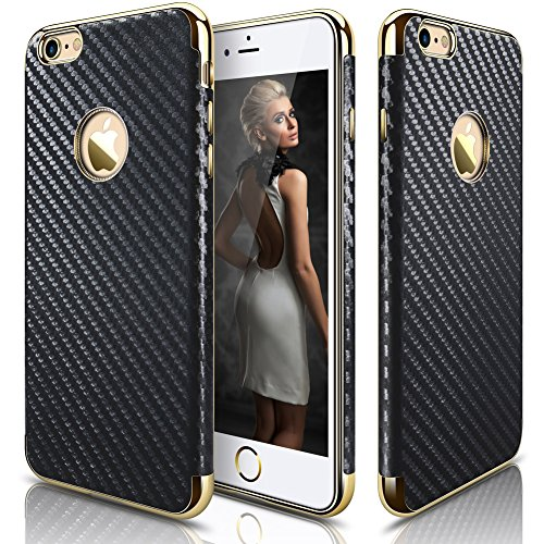 (LOHASIC iPhone 6s Plus case, Slim Fit [Carbon Fiber] Luxury Leather Coated [Flexible & Soft] Shockproof TPU Electroplated Frame Grip Cases Cover Compatible with iPhone 6s / 6 Plus - Carbon Fiber)
