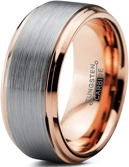 10mm Brushed Black Tungsten Carbide Ring With Rose Gold Lining