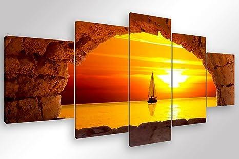 Quadri Moderni Per Ufficio : Quadro moderno tramonto sul mare 5 pz. cm 200x90 stampa su tela
