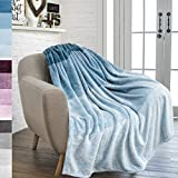 #4: PAVILIA Flannel Fleece Sea Blue Teal Throw Blanket | Soft Cozy Warm Plush Microfiber Lightweight | Gradient Ombre Decorative Luxury Velvet Throw| For Sofa Couch Bed |50 x 60 Inches| All Season Use By