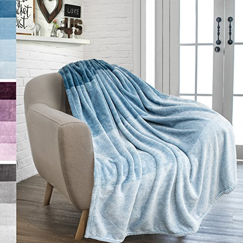 PAVILIA Flannel Fleece Sea Blue Teal Throw Blanket | Soft Co