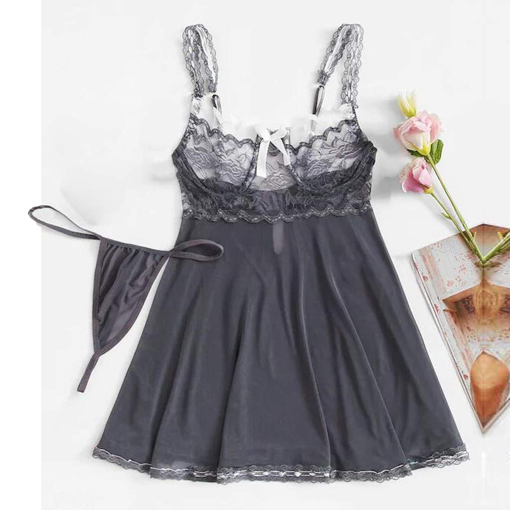Women Mesh Chemise Nightwear Sexy Floral Contrast Lace Bandage Lingerie Underwear with Garter (S, Gray) by Beew Women's Lingerie Sets (Image #2)