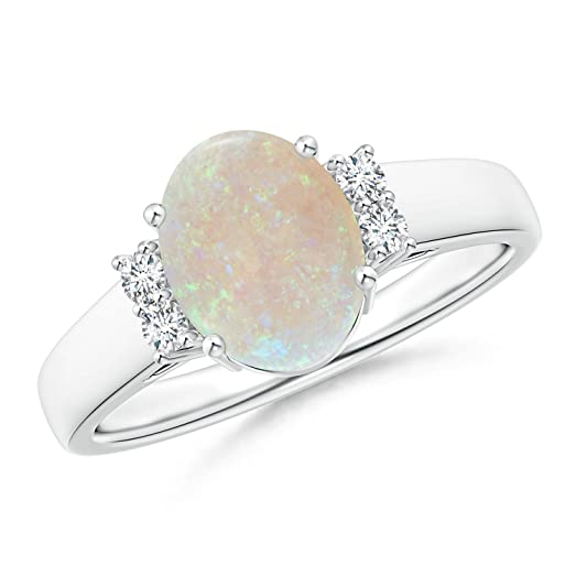 Angara Opal and Trio Diamond Ring in Platinum - October Birthstone Ring WLPfUYk25T