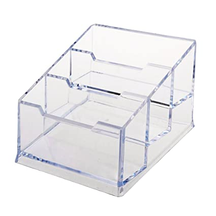 hamosky clear business card holder office acrylic business card stand for desk plastic business card desk - Business Card Stand