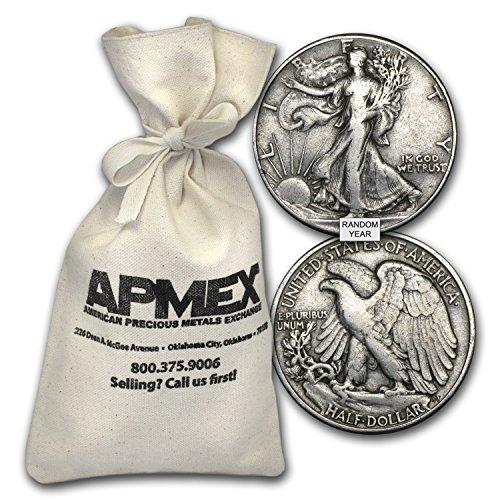 1916 - 1947 90% Silver Walking Liberty Half-Dollars $50 Face-Value Bag Half Dollar Very (Walking Liberty Half Dollar Mintmark)