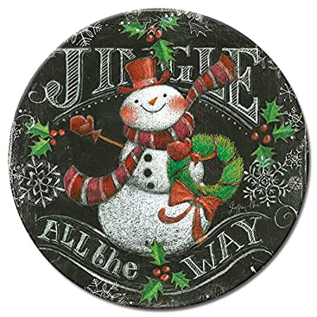 CounterArt Lazy Susan Glass Serving Plate, 13-Inch, Chalkboard Snowman Jingle all the way