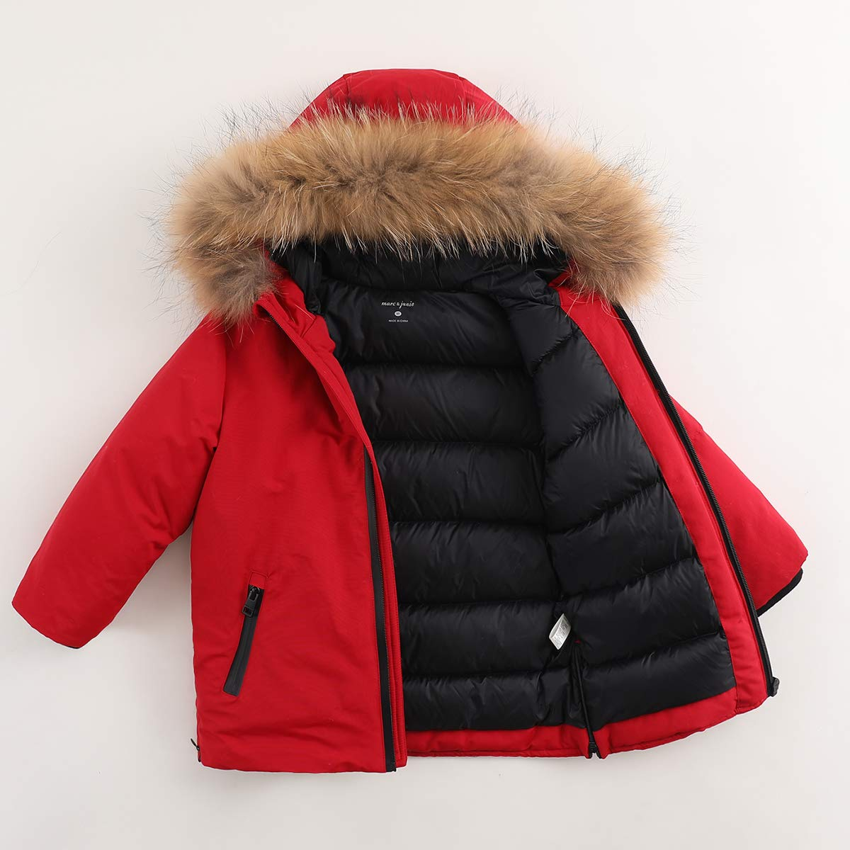 marc janie Boys Girls Lightweight Packable Hooded Down Puffer Jacket Raccoon Fur Collar Mid-Long