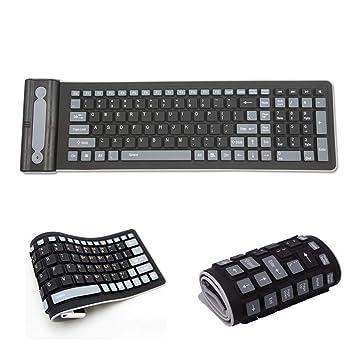 Xdffy Portátil Rodar Bluetooth Teclado, Impermeable Flexible Tranquilo Silicona Teclado para Tableta Laptop Smartphone Windows: Amazon.es: Electrónica