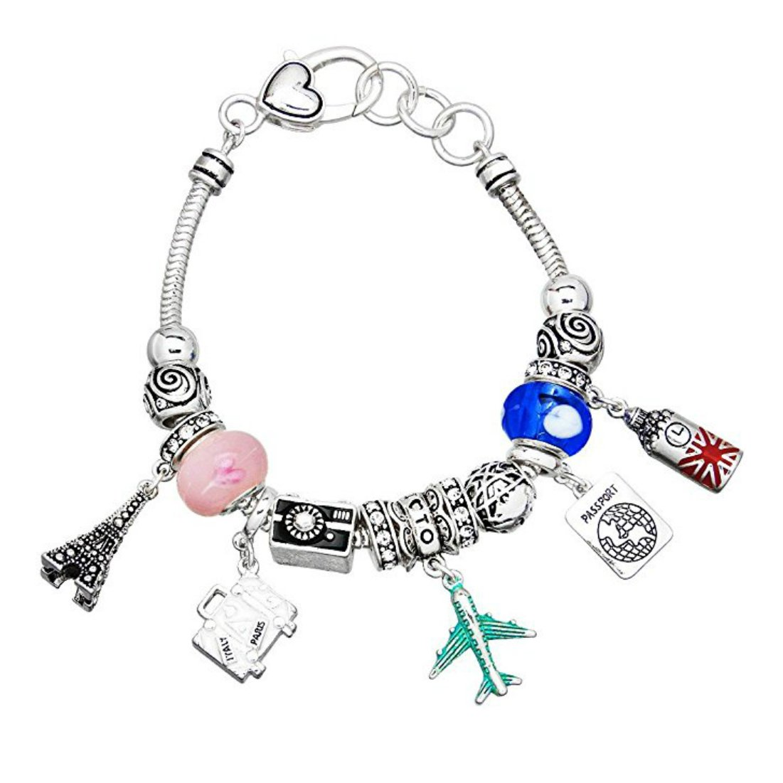 ''Travel'' Theme Silver-Tone Multi Bead Bracelet w/Multi Color Accents and Lobster Clasp By Athena Brand