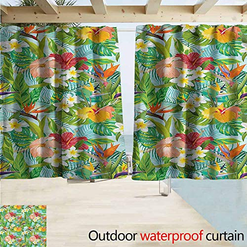 Outdoor Patio Curtains Leaf Hawaiian Crepe Gingers Flower Room Darkening, Noise Reducing W63x63L Inches