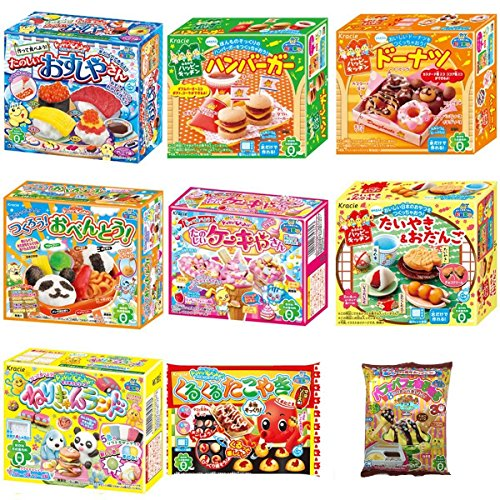Kracie Popin Cookin 9 Item Bundle with Sushi, Hamburger, Bento, Takoyaki, Cake Shop and More (Japanese Candy Making Kit Usa)