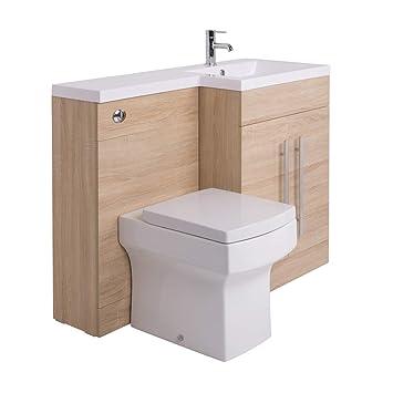 Calm Möbel-WC-Set in Eiche mit integriertem Spülkasten und ...