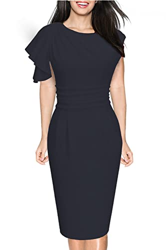 Donsane Women's Retro Celebrity Elegant Ruched Wear to Work Party Prom Bodycon Dress