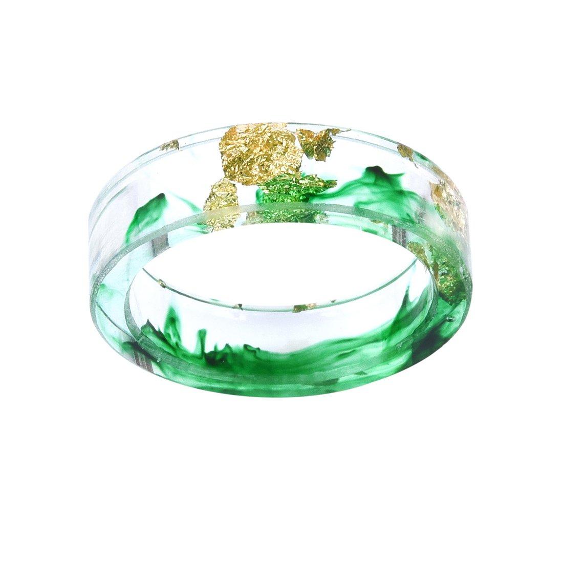 DALARAN Handmade Irregular Green Ink Pattern Transparent Resin Ring Size 8