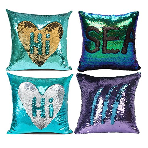 - MOCOFO Glitter Pillow, Set of 4 Reversible Sequins Pillow Cover Magic Mermaid Pillowcase Parkly Fun Flip Sequins Throw Pillow Teal Gold Purple Couch Color Changing Decor Cushion Covers for Sofa16X16