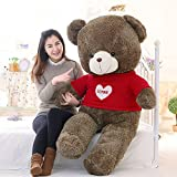 YunNasi Huge Teddy Bear Stuffed Animal Plush Toy with Red Heart Sweater 39''