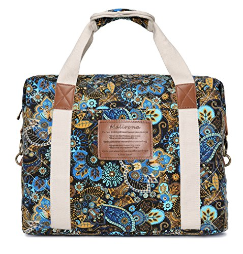 - Malirona Ladies Women Canvas Travel Weekender Overnight Carry-on Shoulder Duffel Tote Bag Bohemian Flower